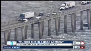 Trucker dies when truck falls off bridge