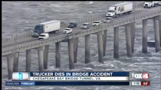 Trucker dies when truck falls off bridge