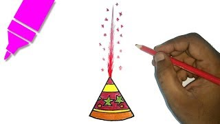 How to Draw Diwali Fountain | Diwali Special drawing for Kids | Diwali crackers drawing