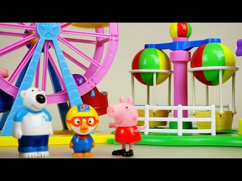 Thumbnail: Peppa Pig Amusement park toys & Pororo kindergarten and car toys