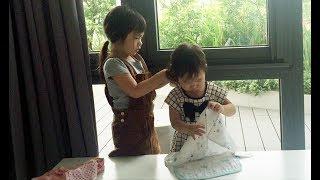 chi ba ry cot toc cho em 4 ny i kid ties her sisters hair i ly hai minh ha family