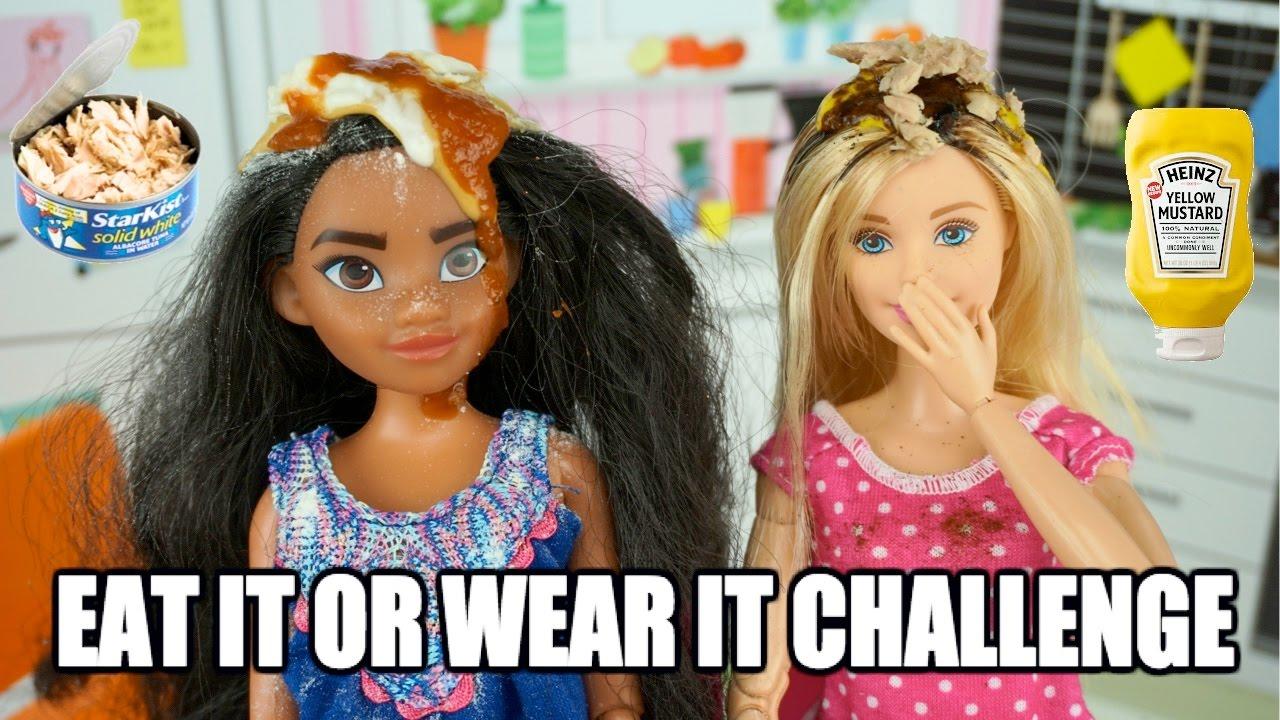 Disney Moana Vs Barbie Eat It Or Wear It Challenge In Real