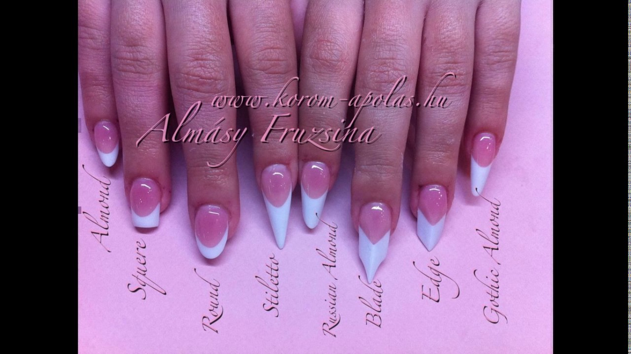 Acrylic Nail Shapes And Designs Youtube