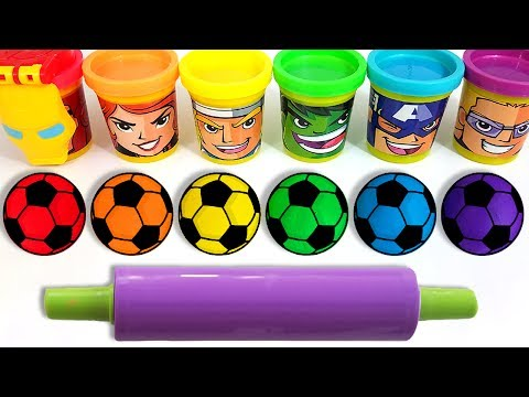 Thumbnail: Learn Colors with Soccer Ball Play Doh Color Balls Superheroes and Cars Ice Cream Molds for Kids