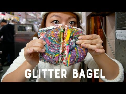 I Tried The Viral GLITTER RAINBOW Bagels