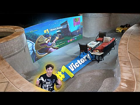 Transforming my Empty Swimming Pool into a FORTNITE GAME ROOM!! (IT WORKED)