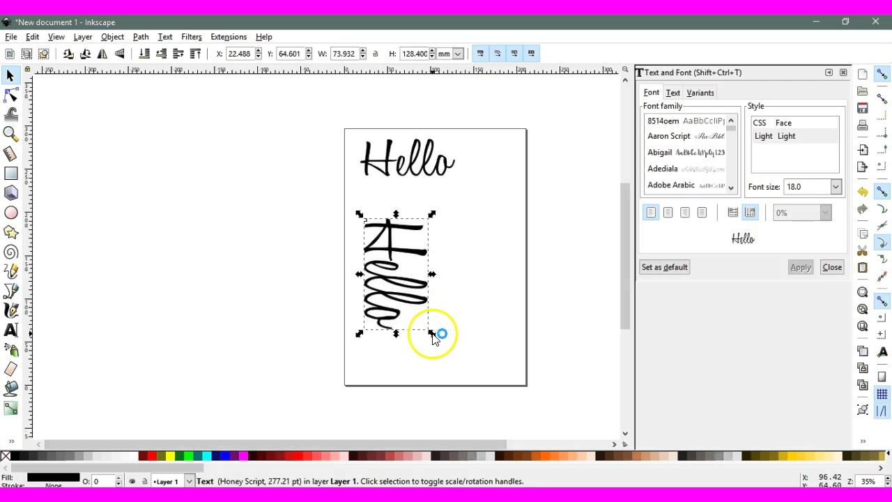 Vertical Text type in Inkscape Brother ScanNCut Jen Blausey