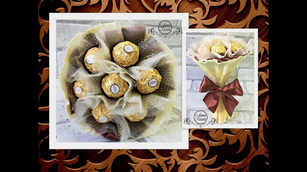 DIY🌷МИНИ БУКЕТ ИЗ КОНФЕТ Ferrero Rocher🌷Самый простой способ сборки букета из конфет🌷Анна Кохан