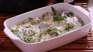 Sprout salad with yogurt dressing
