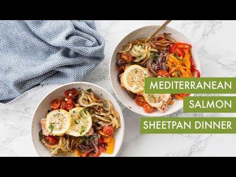 Mediterranean Salmon Sheetpan Dinner | Inspiralized