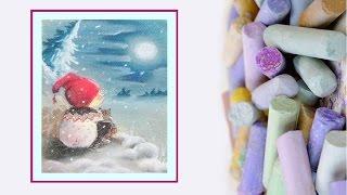 Видео урок Рисуем  сухой пастелью Рождественского гнома