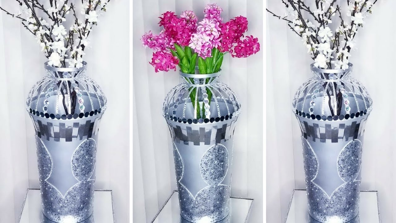 Diy Tall Metallic Floor Vase Quick And Easy 5 Minutes Home Decorating Hack Youtube