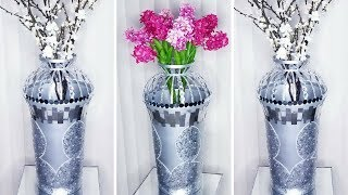 Diy Tall Metallic Floor Vase| Quick and Easy 5 minutes Home Decorating Hack!