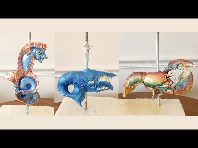 We made Boston's Greenway Carousel out of cake! Making gumpaste animals! [part 3]