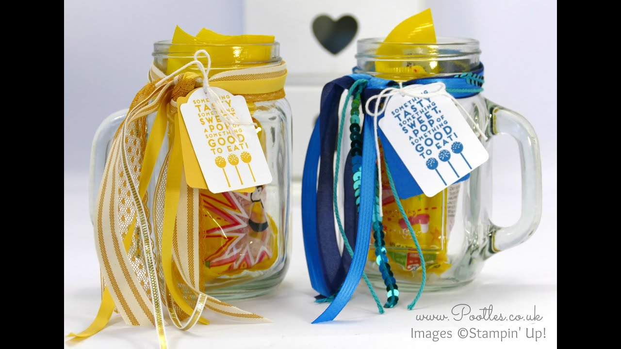 quick decorated drinking jars using stampin up ribbons youtube
