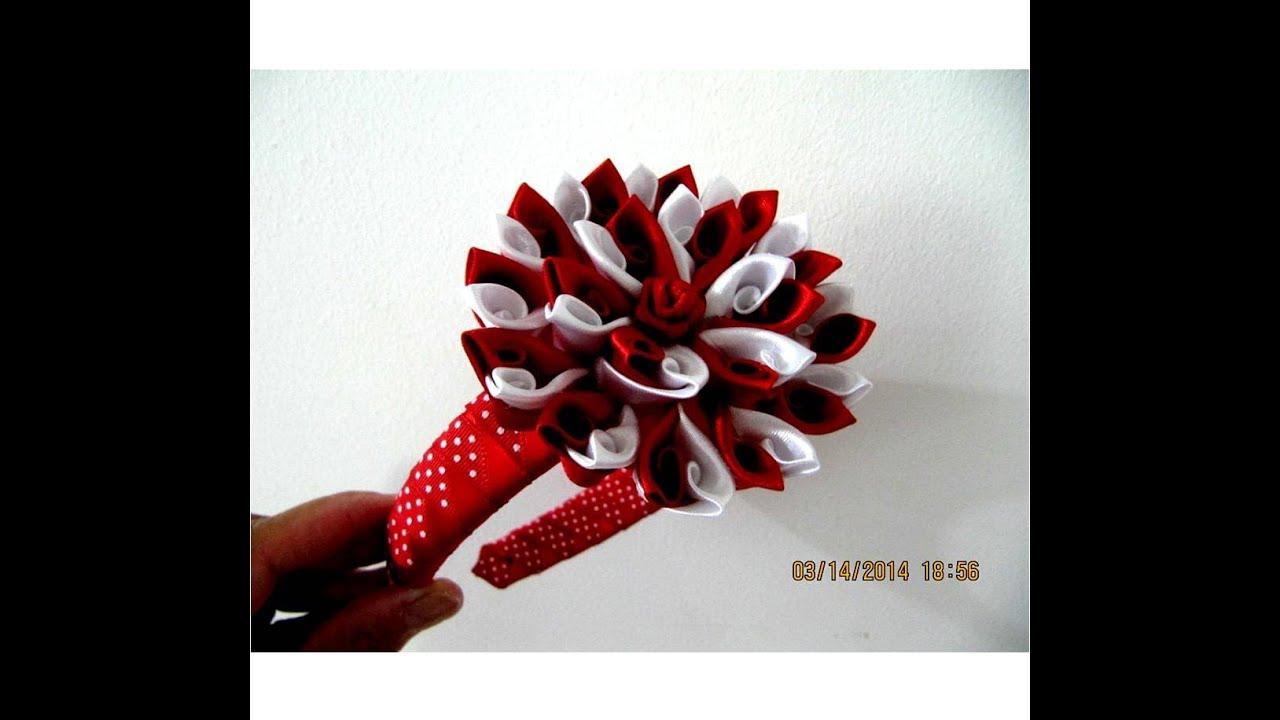 Flores p talos bicolor rizos rococ diademas en cintas for Diademas de tela para el cabello