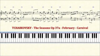 Piano Tutorial Sheet - 02 - TCHAIKOVSKY - February - Carnival - HD