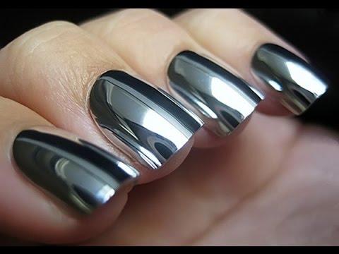 How To Polish Chrome >> UNGHIE EFFETTO SPECCHIO Polvere silver chrome EFFE NAILS - YouTube