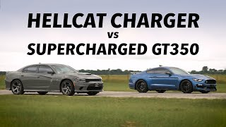 Hellcat Charger vs Supercharged GT350 STREET RACE!