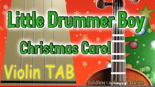 Little Drummer Boy - Christmas Carol - Violin - Play Along Tab Tutorial
