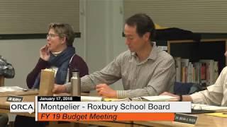 Montpelier - Roxbury School Board - January 17, 2018