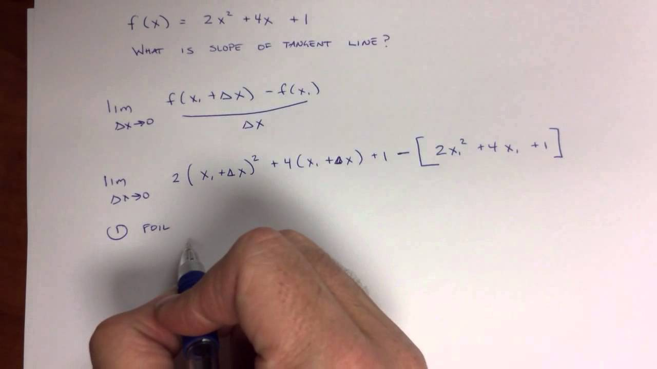 27 Calculus  Example Of Finding Slope Of Tangent Line