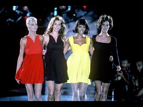 The Big 4: Naomi, Linda, Cindy and, Christy on Gianni Versace runway Fall/Winter 1991-1992
