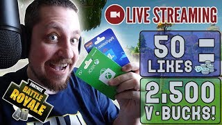 🔴 50 Likes = V-Bucks Giveaway [Fortnite] LIVE