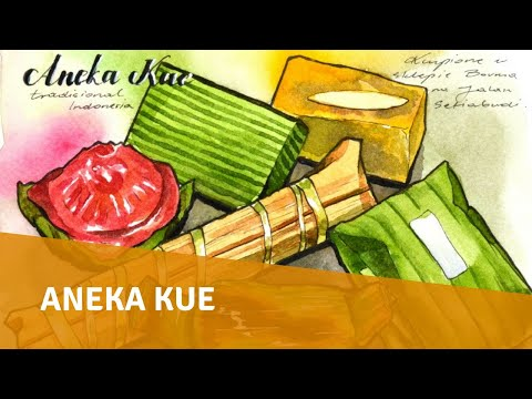 Food Sketch with Watercolor and Ink   Aneka Kue