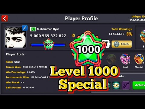 8 Ball Pool - 1000 Level First Ever Highest level - 5000b coins special  - Joker 8bp