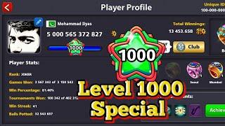 8 Ball Pool - 1000 Level First Ever Highest level - 5000b coins special  - Joker 8bp
