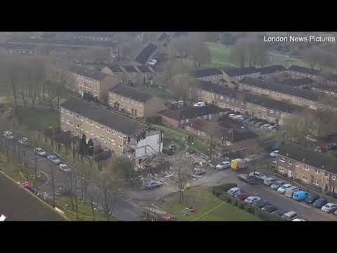 Aerial footage shows wreckage in Andover following 'gas' explosion