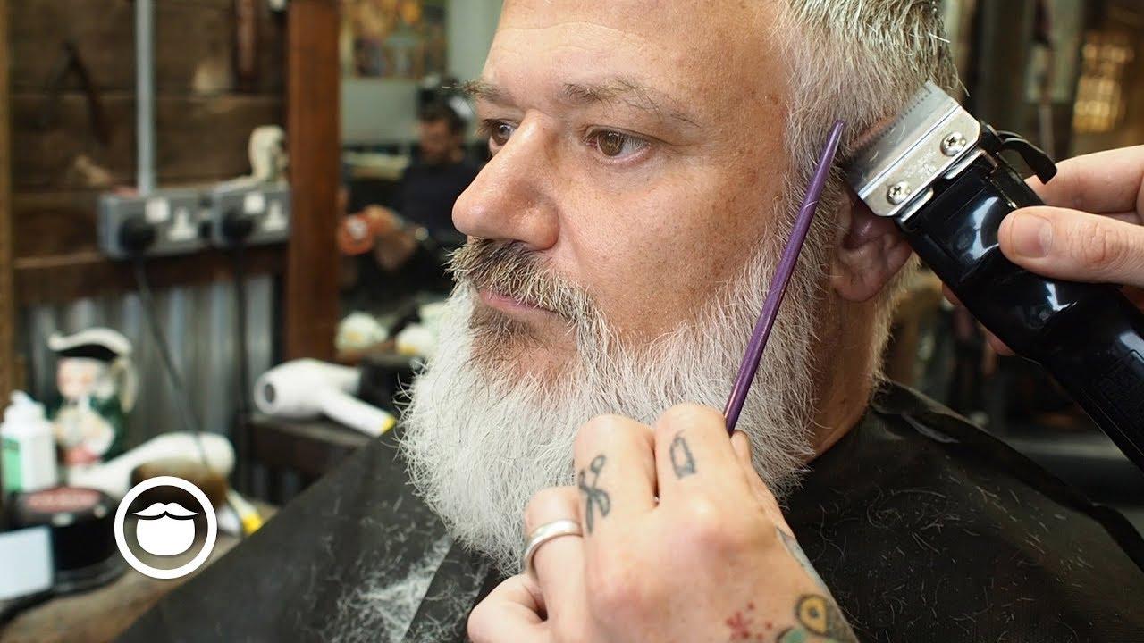 classic scissor cut with beard trim at the barbershop youtube