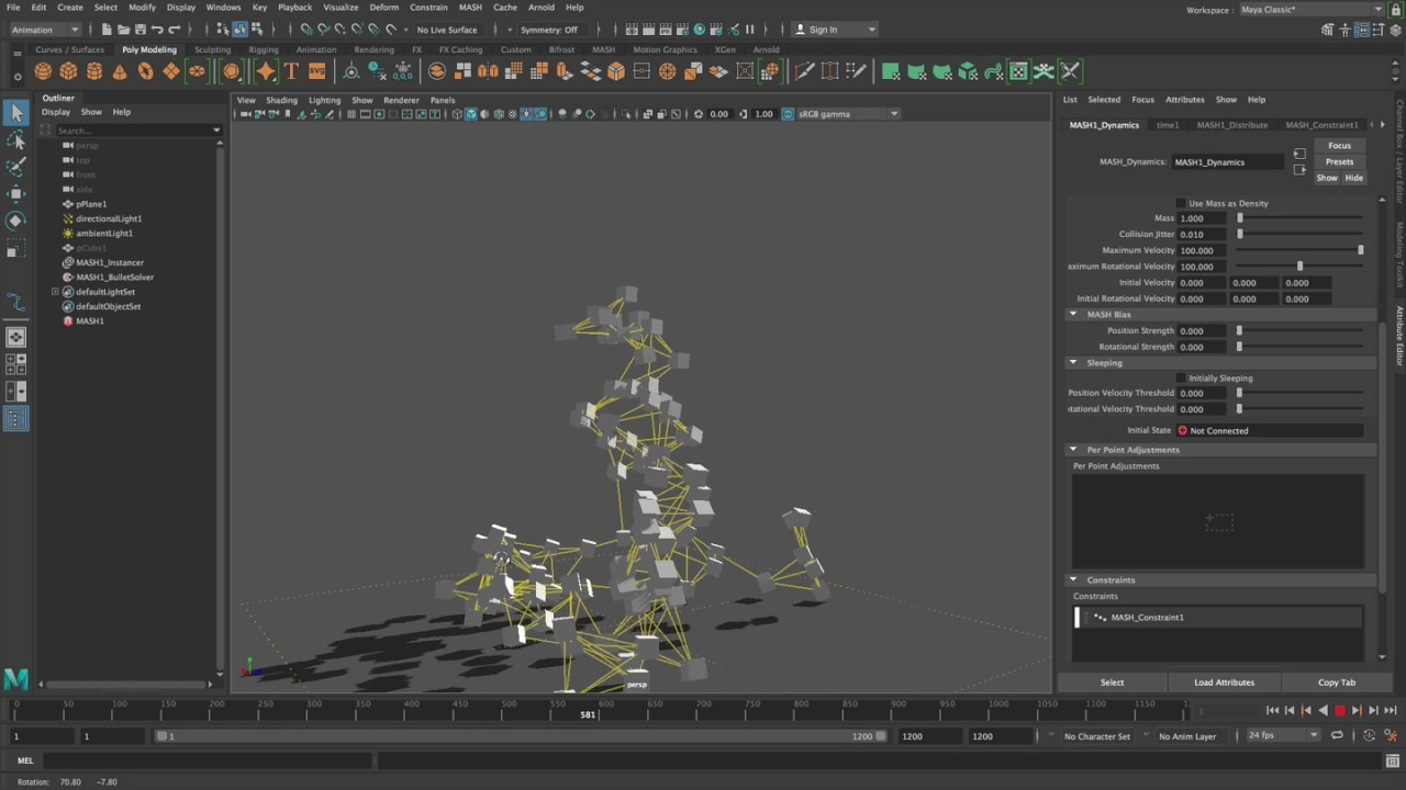 The New MASH Dynamics Node in Maya 2018, Part 3 - Toolfarm