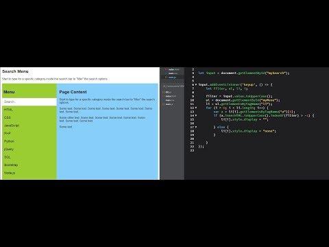 JavaScript практика. Search Menu | Фильтр элементов на JS