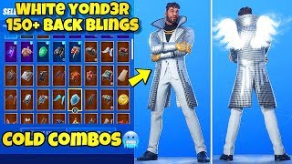 "NEW ""WHITE YOND3R"" SKIN Showcased With 160+ BACK BLINGS! Fortnite BR (BEST YOND3R COMBOS)"