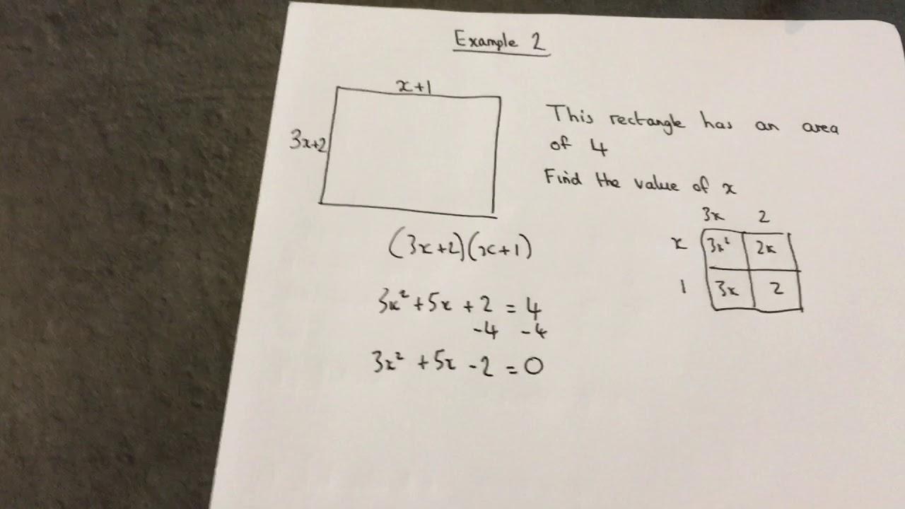GCSE maths: Quadratic Equations, problem solving area problem