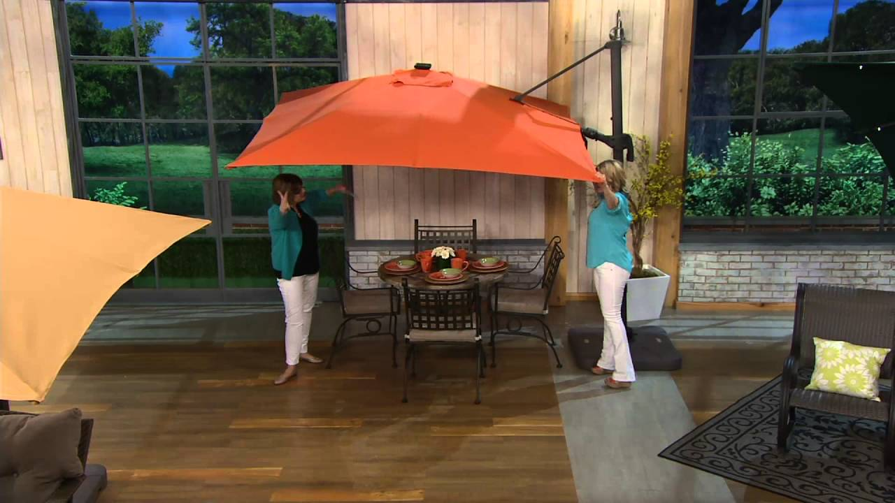 Atleisure Multi Tilt 8 5 Solar Offset Patio Umbrella On Qvc You