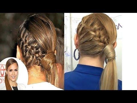 Peinado inspirado en JESSICA ALBA coleta con trenza elegante y casual