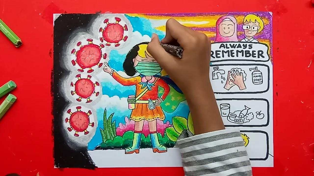 mewarnai gambar tema virus corona bersama zahra