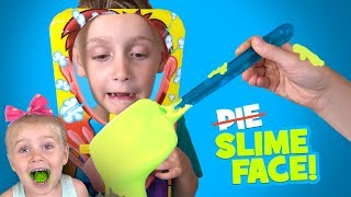 SLIME Pie Face Sky High Challenge!!! Family Fun Playtime by KIDCITY