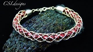 Hollow wirework kumihimo bracelet