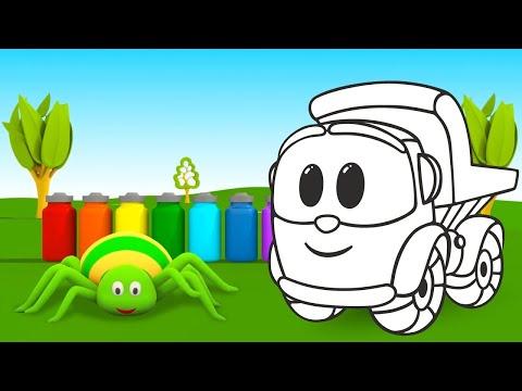 Vamos Colorir Juntos! Aprendemos As Cores Com  Léo O Caminhão. Coleção Dos Desenhos Animados
