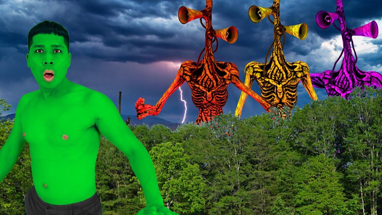 Superheroes Nerf : Giant Siren Head Monster Attack Superheroes Team In Real Life