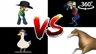 Scuba Duck vs HCBW vs Gypsy Horse vs Cowboy Luigi - FATAL FOURWAY 2 - Meme Fight in 360°/VR