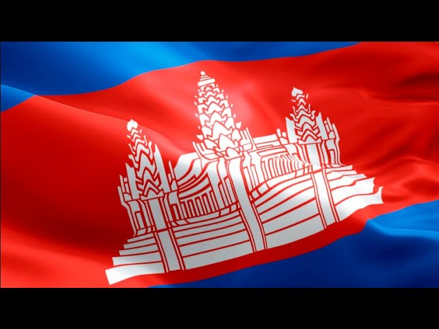 Cambodian flag video waving in wind. Realistic Siem Reap Flag background. Cambodia flag Full HD #1