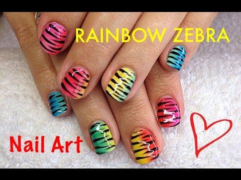 Bright Neon Zebra Strip East Nail Art With Nail Polish Youtube