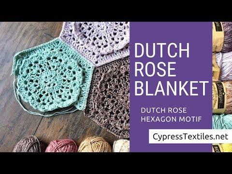 Dutch Rose Crochet Blanket - Motif 1 - Dutch Rose Hexagon motif - CypressTextiles