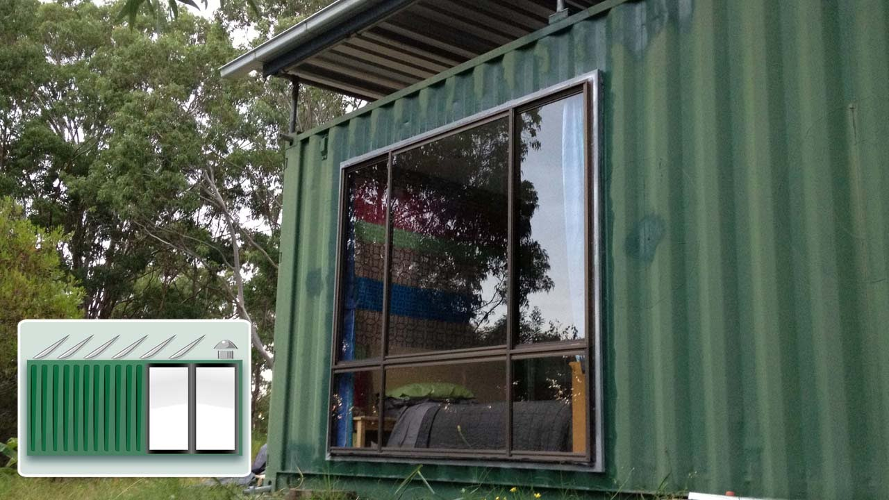 shipping container house - installing a large window - youtube