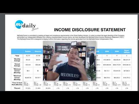 MyDailyChoice Income Disclosure Statement (Earnings Disclaimer)